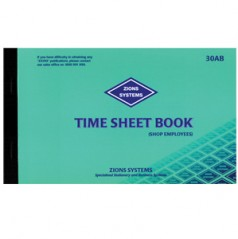30AB - Time Sheet Book (Shop Employees)