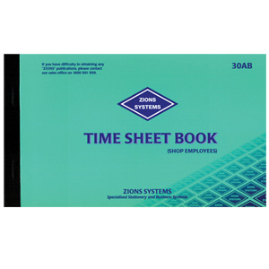 30ab time sheet book shop employees
