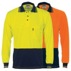 3813 - HiVis Two Tone Fluoro Polo Shirt, Micromesh - Long Sleeve