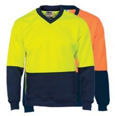 3822 - HiVis Two Tone Fleecy Sweat Shirt (Sloppy Joe) V-Neck