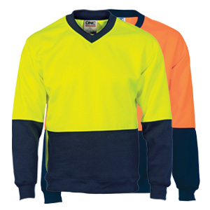 3822 - HiVis Two Tone Fleecy Sweat Shirt (Sloppy Joe) V-Neck