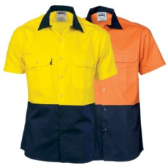 3839 - HiVis Two Tone Cool-Breeze Cotton Shirt - Short Sleeve