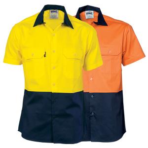 3839 - HiVis Two Tone Cool-Breeze Cotton Shirt - Short Sleeve