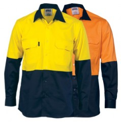 3840 - HiVis Two Tone Cool-Breeze Cotton Shirt - Long Sleeve
