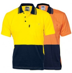 3845 - HiVis Cool-Breeze Cotton Jersey Polo Shirt with Under Arm Cotton Mesh - Short Sleeve