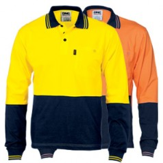 3846 - HiVis Cool-Breeze Cotton Jersey Polo Shirt with Under Arm Cotton Mesh - Long Sleeve