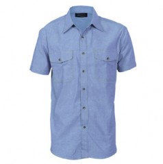 4103 - Mens Twin Flap Pocket Cotton Chambray Shirt