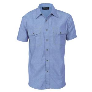 4103 - Mens Twin Flap Pocket Cotton Chambray Shirt