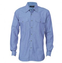 4104 - Mens Twin Flap Pocket Cotton Chambray Shirt - Long Sleeve
