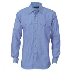 4104 - Mens Twin Flap Pocket Cotton Chambray Shirt - Long Sleeve