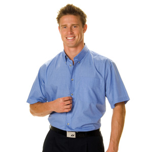 4121 - Polyester Cotton Chambray Business Shirt - Short Sleeve