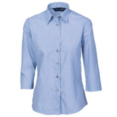 4254 - Ladies Classic Mini (Check) Houndstooth Business Shirt - 3/4 Sleeve