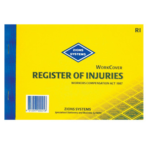 RI - Registerof Injuries Book (Workcover) NSW