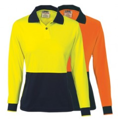 3898 - Ladies HiVis Two Tone Polo Shirt - Long Sleeve